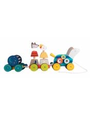 Les Zig et Zag Интерактивная деревянная игрушка Лошадка с прицепом